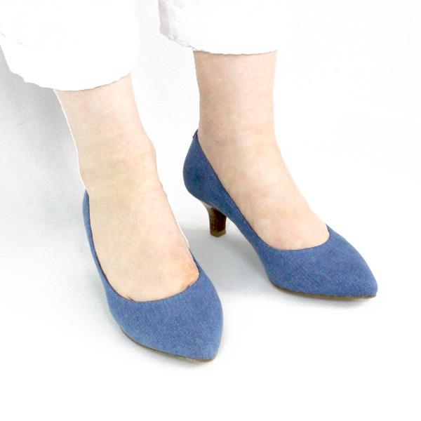 ポイント10倍【SS30】L'avenueラヴェニュー24097Aアーモンドトゥパンプスデニムground靴 【キャッシュレス5%還元対象】レビューキャンペーン実施中