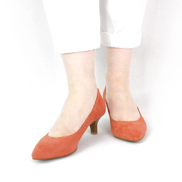 【SS30】L'avenueラヴェニュー24097Aアーモンドトゥスエードパンプスオレンジground靴 ポイント5倍