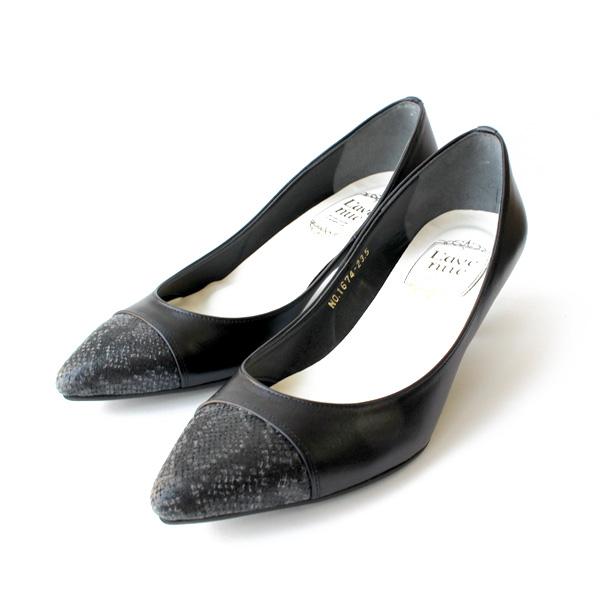 L'avenueラヴェニュー1674ポインテッドトゥ切り替えパンプスオケージョンフォーマルブラックground靴 ポイント5倍