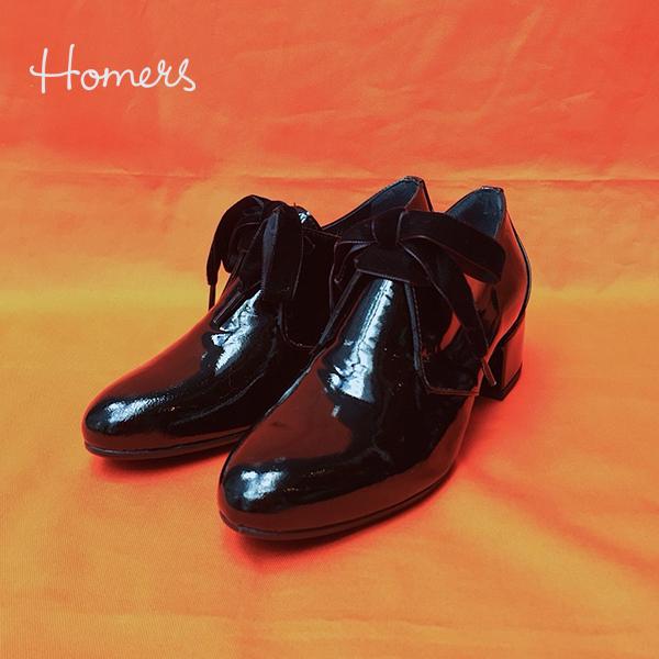 【2018秋冬】HOMERSホーマーズ18957ベルベットリボンレザーシューズブラックground靴 ポイント5倍