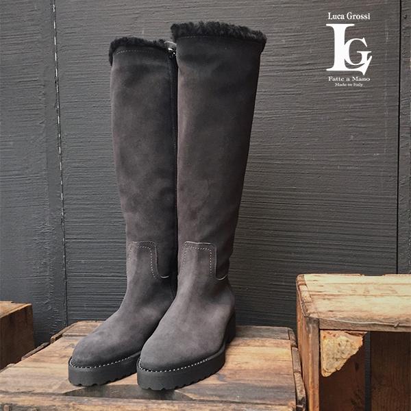 ポイント10倍LucaGrossiルカグロッシE202T ロングムートン ブーツ ブラック ロングブーツ ground 靴 再入荷 【キャッシュレス5%還元対象】レビューキャンペーン実施中