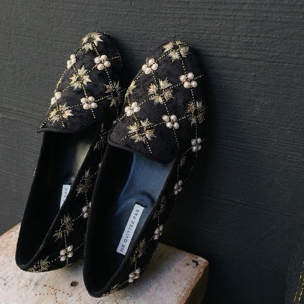 【2018秋冬】neQuittezpasヌキテパ013082442PEARLEMBOPERASHOESパール刺繍オペラシューズブラックground靴 ポイント5倍