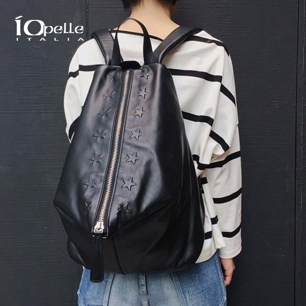【2018秋冬】IO PELLE/イオペレ 3910/R レザーセンタージップリュックサック 星 MOUSSE ブラック レザーバッグ ground 鞄 