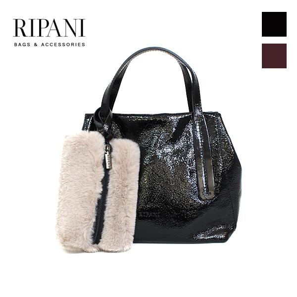 【2018秋冬】RIPANI/リパーニ 8507QN 2Wayファーポーチ付きレザーバッグ スモールサイズ A4 レザー スナップベルト small レザーバッグ エナメルレザー|ground|鞄|