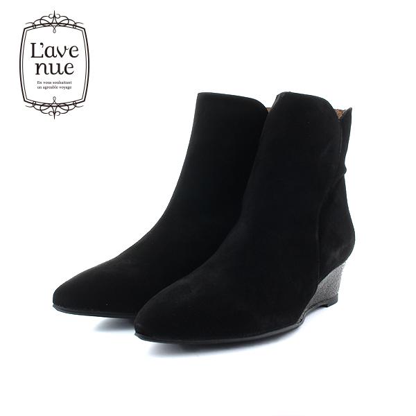 【2018秋冬】L'avenueラヴェニュー11704CUNAウエッジソールショートブーツブラックスエードブラックヒールブーツground靴 ポイント5倍