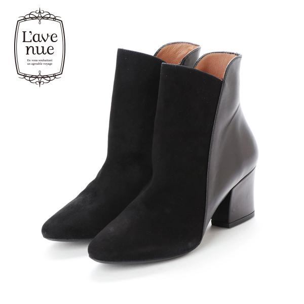 【2018秋冬】L'avenueラヴェニュー19704異素材切替えブーツブラックスエードブラックヒールブーツground靴 ポイント5倍