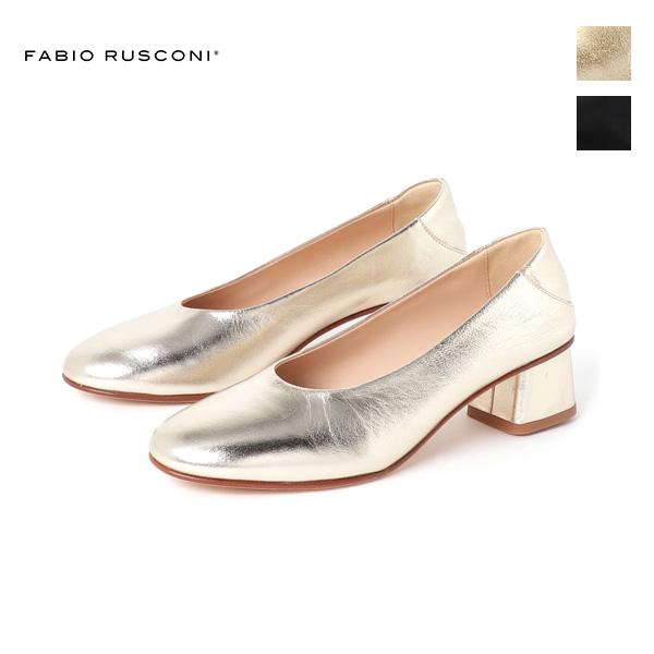 FABIORUSCONIファビオルスコーニS-4154ラウンドトゥ2WAYプレーンパンプスレディースシューズフォーマルオケージョンプラチナブラックground靴 ポイント5倍