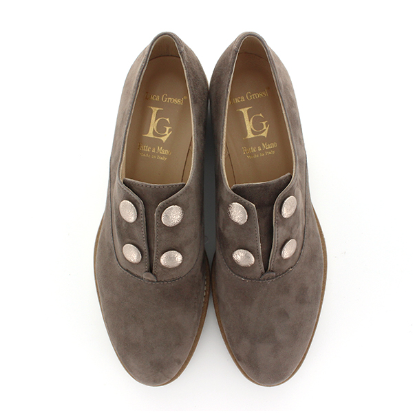 LucaGrossiルカグロッシD915Mボタンデザインスリッポンマニッシュシューズground靴 レビューキャンペーン実施中