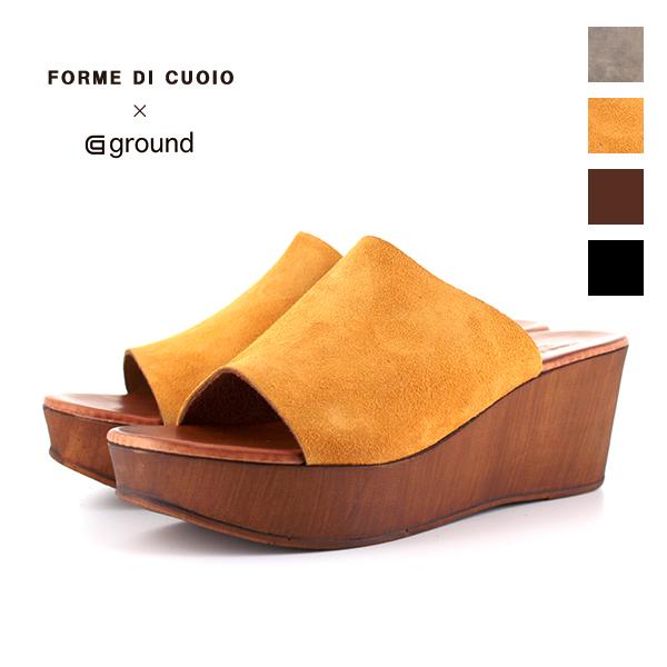 【ground別注】Forme di cuoio by ground フォルメ・ディ・クオイオ 13-24-E224 レザーサボサンダル ブラック ブラウン トープ イエロー スエードレザー 本革 プラットフォームサンダル ground 靴 クーポン