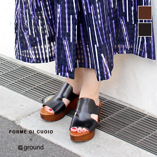 【ground別注】Formedicuoiobygroundフォルメ・ディ・クオイオ13-24-702サイドカットレザーサボサンダルブラックブラウン本革プラットフォームサンダルground靴 ポイント5倍