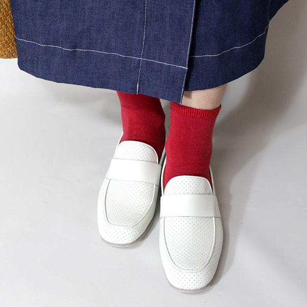 chausserショセC-2257パンチングローファーホワイトground靴 ポイント5倍