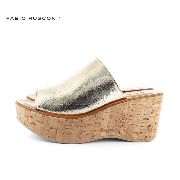 FABIORUSCONIファビオルスコーニDORA972コルク厚底ソールメタリックミュールサンダルground靴 ポイント5倍
