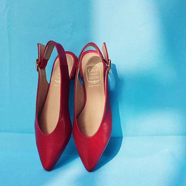 ポイント10倍L'avenueラヴェニューA1580スリングバックローヒールパンプスブラックレッドバックストラップground靴 【キャッシュレス5%還元対象】レビューキャンペーン実施中