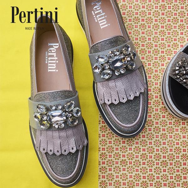 Pertiniペルティニ191W15522ビジュー付きマニッシュシューズシルバーローファーウイングチップground靴 ポイント5倍