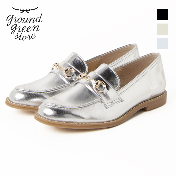 groundgreenstoreMK-GGS-7091グラウンドグリーンストアレディース女性用7091フラットローファーエナメルローファーブラックシルバーライトベージュグレージュレインシューズレインground靴2019春夏 ポイント5倍