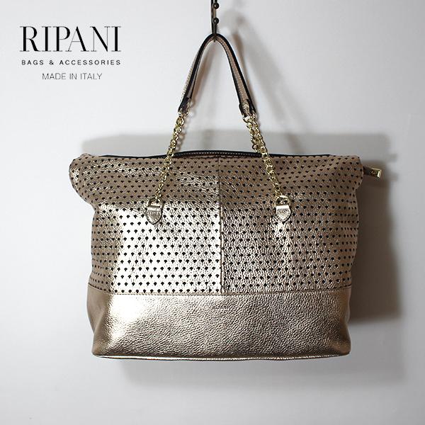 RIPANI リパーニ 9031OG レザートートバッグ パンチングレザー レザー メタリックカラー レザーバッグ ground 鞄 2019春夏 母の日 ポイント5倍 クーポン対象
