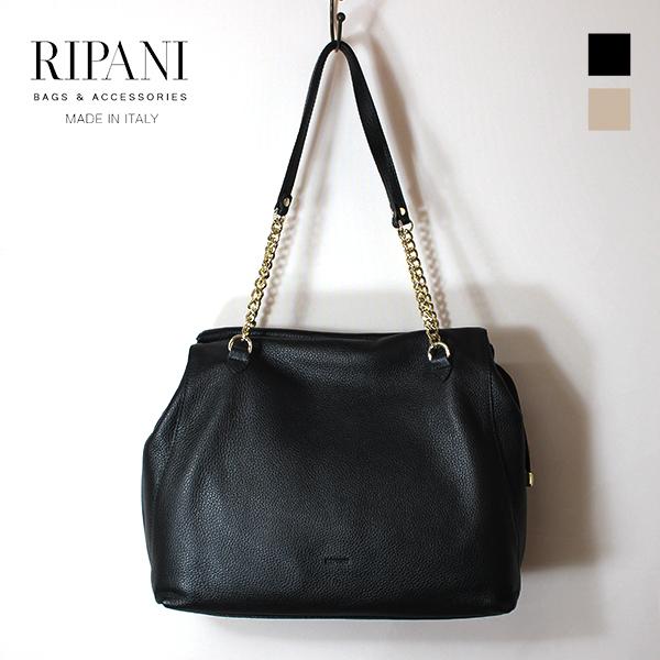 RIPANI リパーニ 9032OO ソフトレザートートバッグ レザートート レザー チェーン ブラック ベージュ レザーバッグ ground 鞄 2019春夏 母の日