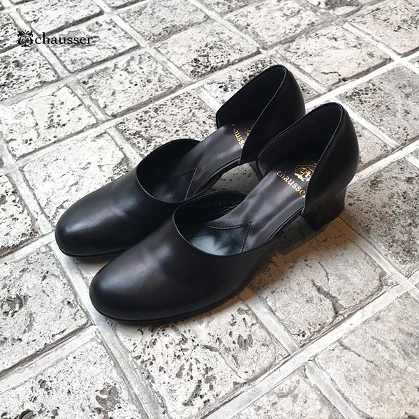 chausserショセC-2282パンプスレディース女性用セパレートパンプスブラックオケージョンground靴レザーパンプス2019春夏 ポイント5倍