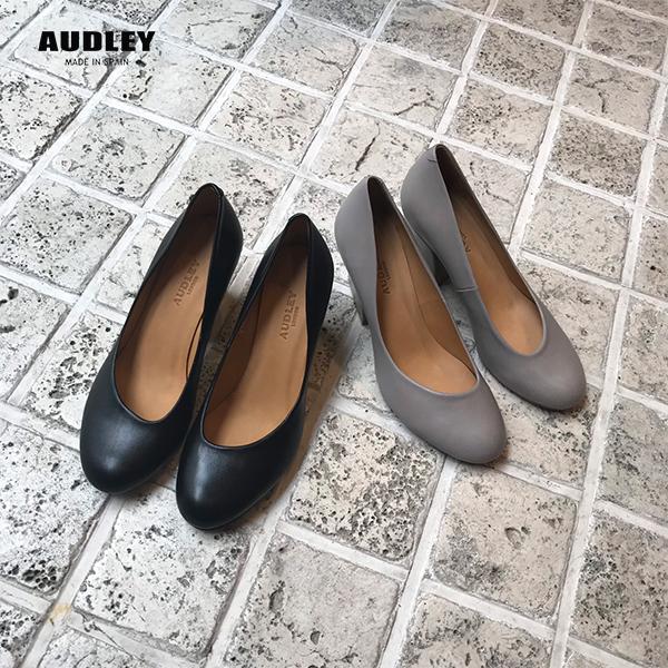 AUDLEYオードリーS3751パンプスレディース女性用チャンキーヒールパンプスブラックグレーオケージョンground靴レザーパンプス2019春夏 ポイント5倍