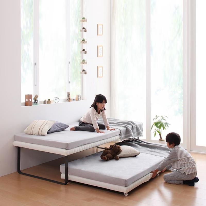 商品名| BEC 親子ベッド ベッドフレームのみシンプルデザインサイズ| 幅97 長さ200 高さ45cmナチュラル ホワイト分離式 ベッド大人も子供も使えるゲストハウス 民宿 民泊 社員宿舎 学生寮