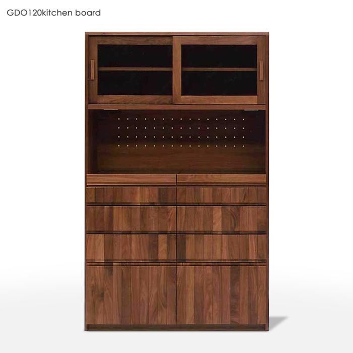 商品名| GDO キッチンボード 幅 120cmカラー| ウォールナット ホワイトオークサイズ| 幅117.4 奥行き46.5 高さ190cm生産国| 国産 日本製ハイカウンター レンジ台キッチン収納 食器棚 カップボード キッチンボード