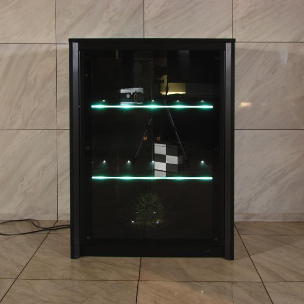 商品名  B.B. 幅67cm ガラス キャビネット黒 オールブラック キャビネット光り輝くガラス棚が幻想的安心の日本製 飾り棚国産 大川家具 契約工場 生産電話台 tel台 fax台 ファックス台