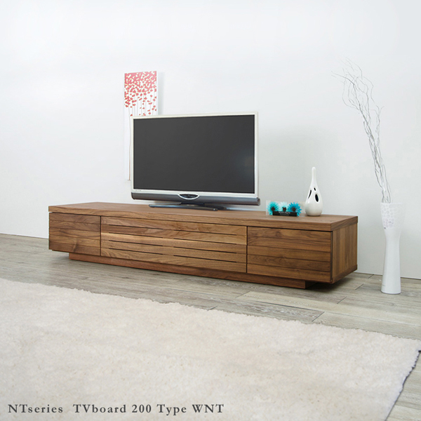 grove product name nt001 200 cm wide tv stand 2 m tv japan made solid tv board walnut. Black Bedroom Furniture Sets. Home Design Ideas