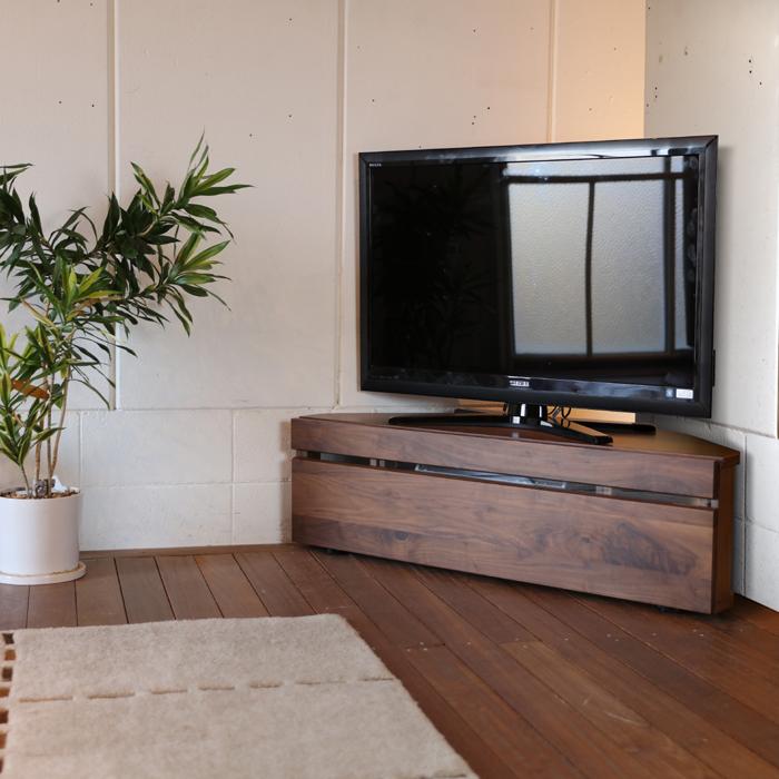 CON コーナー TVボード ローボード テレビボードミッドセンチュリーモダン ウォールナット幅120 奥行42 高さ35 cm北欧 収納付き コーナーラック TVボード120cm おしゃれ シンプル 寝室