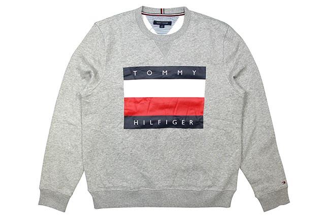 TOMMY HILFIGER FLAG LOGO CREW SWEAT(C8878C2685/GREY)トミー ヒルフィガー/クルースウェット/グレイ