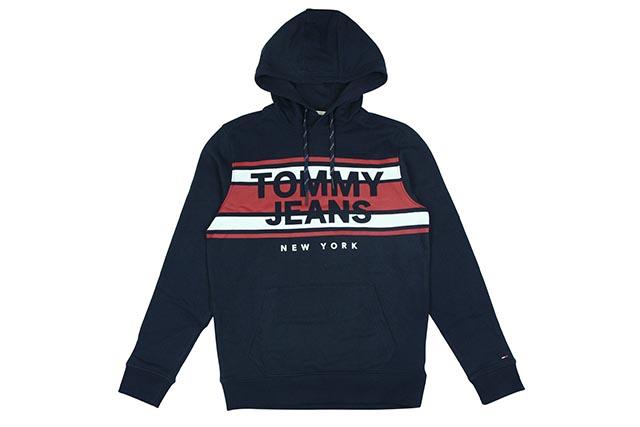 TOMMY JEANS SWEAT P/O HOODY(DM04850 080:NAVY)トミー ジーンズ/プルオーバーフーディー/ネイビー