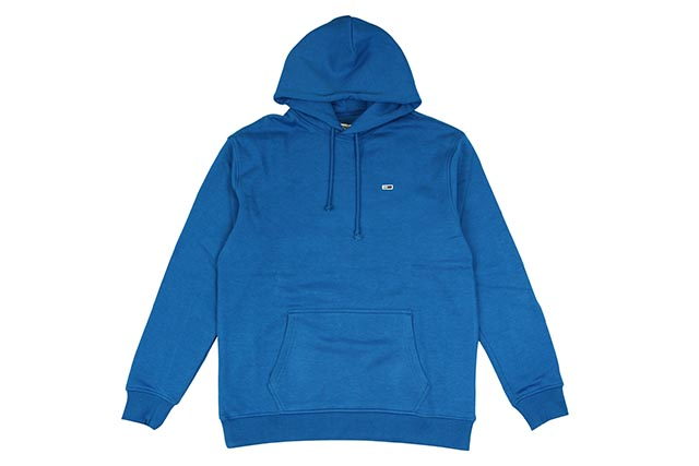 TOMMY JEANS ONE POINT HOODY(DM04468-423)(VIRIDIAN BLUE)トミーヒルフィガー/ワンポイントフーディー/ビリジアンブルー