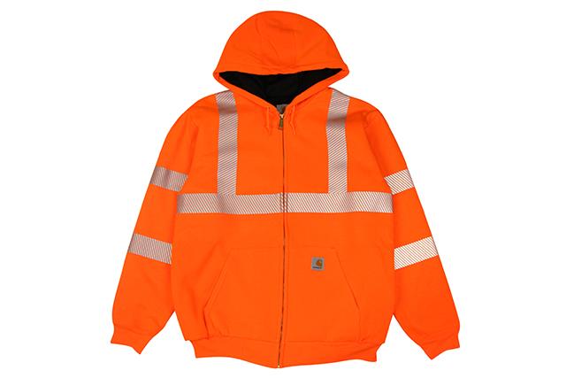 Carhartt HIGH-VISIBILITY ZIP-FRONT CLASS 3 THERMAL-LINED SWEATSHIRT (100504/824:BRIGHT ORANGE)カーハート/ジップフーディー/ブライトオレンジ