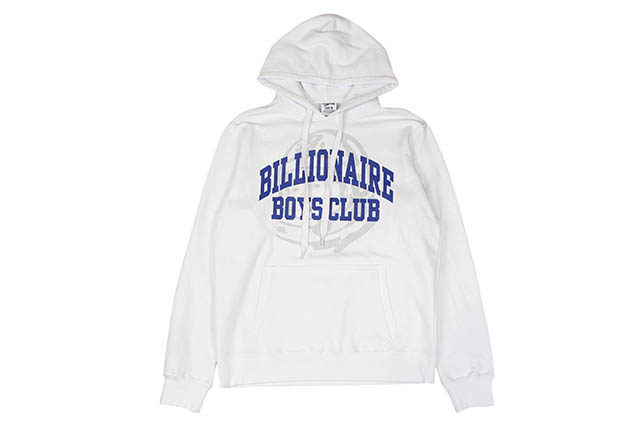BILLIONAIRE BOYS CLUB BB COLLEGIATE HOODIE (881-9312:WHITE)ビリオネアボーイズクラブ/プルオーバーフーディー/ホワイト