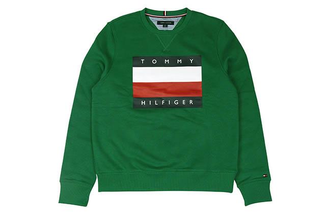 TOMMY HILFIGER FLAG LOGO CREW SWEAT(C8878C2685-311)(GREEN)トミーヒルフィガー/クルーネックスウェット/グリーン