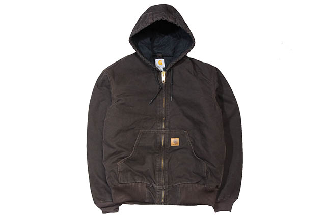 Carhartt SANDSTONE ACTIVE JACKET/QUILTED FLANNEL LINED (J130: DKB / DARK BROWN)カーハート/フードダックジャケット/ダークブラウン