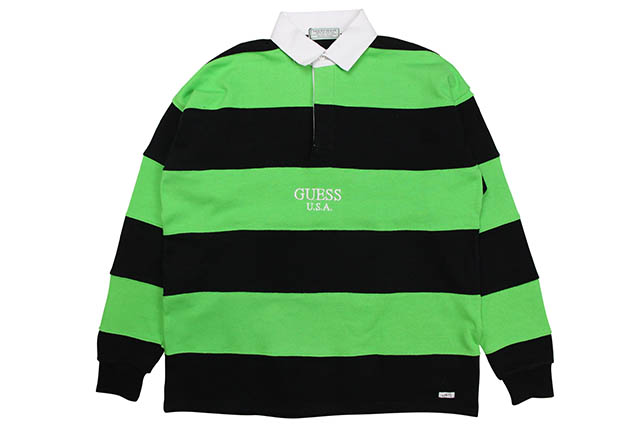 GUESS GREEN LABEL GUESS USA LIME RUGBY SHIRT (GRSS19-013:NEON GREEN)ゲスグリーンレーベル/ラグビーシャツ/ネオングリーン