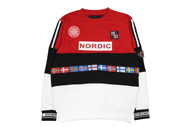 NORDIC DOWN COLORBLOCK FLAG CREW SWEAT(NDG-CS-001:RED/NAVY/WHITE)ノルディックダウン/クルーネックスウェット/レッド×ネイビー×ホワイト