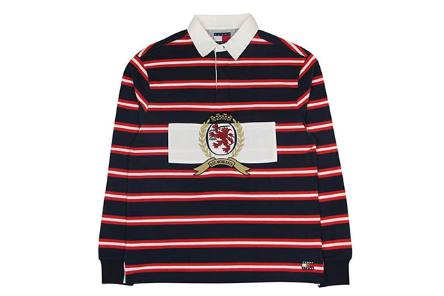TOMMY JEANS CREST CAPSULE STRIPE RUGBY SHIRT (DM05891)トミージーンズ/ラグビーシャツ