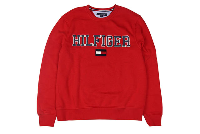 TOMMY HILFIGER COLLEGIATE LOGO CREW SWEAT(C8878D1991-611)(RED)トミーヒルフィガー/クルーネックスウェット/レッド