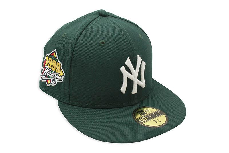 NEW ERA YORK YANKEES 59FIFTY 新作続 FITTED CAP 1999 WORLD SERIES SIDE PATCH 激安超特価 PINK DARK VISOR UNDER ダークグリーン GREEN ツバ裏ピンク フィッテッドキャップ MLB ニューヨークヤンキース ニューエラ