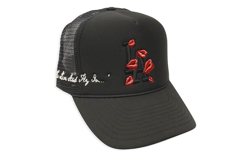 LA ROPA セール 登場から人気沸騰 TO LIVE AND FLY IN HAT BLACK 人気海外一番 ラロパ メッシュキャップ ブラック×ブラック TRUCKER