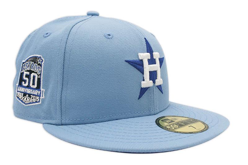 NEW ERA HOUSTON ASTROS 59FIFTY FITTED CAP 50TH ANNIVERSARY CUSTOM SIDE PATCH LIGHT ツバ裏ライトロイヤル フィッテッドキャップ MLB ROYAL VISOR SKY UNDER メーカー直売 BLUE スカイブルー ヒューストンアストロズ ニューエラ オンラインショッピング