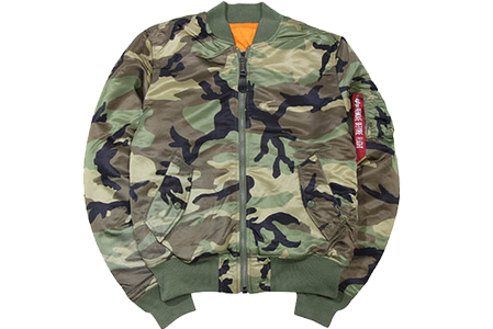 ALPHA EUROPIAN-FIT MA-1 FLIGHT JKT(MJM44530C1/WOODLAND CAMO)アルファ/MA-1フライトジャケット/迷彩