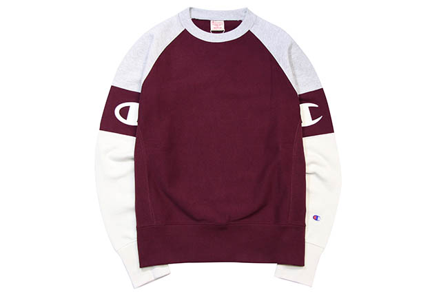 CHAMPION EUROPE REVERSE WEAVE COLLECTION RAGLAN PANEL SWEAT(BURGANDY×OXFORD GREY×CREAM)チャンピオン/ヨーロッパ/クル―ネックスウェット/バーガンディ