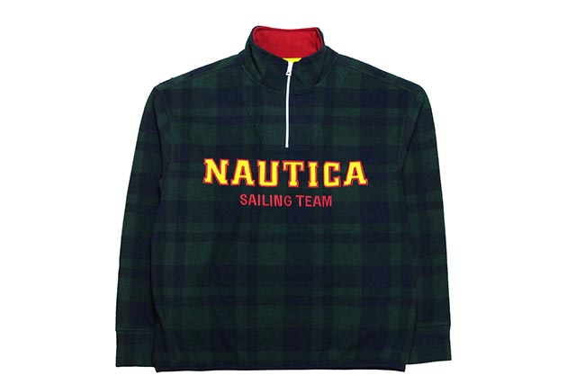 THE LIL YACHTY COLLECTION BY NAUTICA QUARTER ZIP PULLOVERノーチカ/リル ヤッティ/ダークグリーン×ネイビー