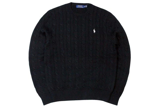 ●POLO RALPH LAUREN CABLE KNIT COTTON SWEATER (POLO BLACK×WHITE)ポロラルフローレン/クルーネックセーター/黒×白