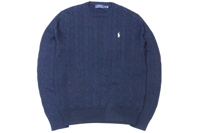 ●POLO RALPH LAUREN CABLE KNIT COTTON SWEATER (NAVY×WHITE)ポロラルフローレン/クルーネックセーター/紺×白