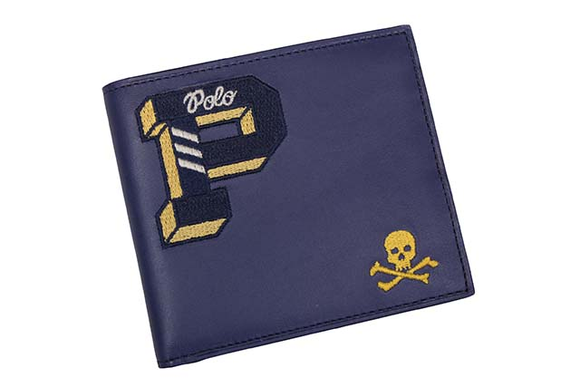 POLO RALPH LAUREN EMBROIDERED LEATHER CARD CASE(405688023001:NAVY)ポロラルフローレン/カードケース/ネイビー