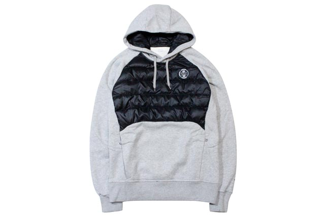 ●POLO SPORT HYBRID DOWN HOODIE (776595635001: ANDOVER HEATHER)ポロスポーツ/プルオーバーパーカー/グレー×黒