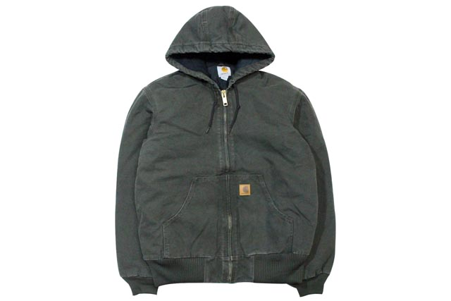 Carhartt SANDSTONE ACTIVE JACKET/QUILTED FLANNEL LINED (J130: MOSS)カーハート/フードダックジャケット/ダークグリーン